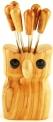 Olive Wood Owl Pick Holder