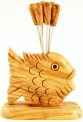 Olive Wood Fish Pick Holder
