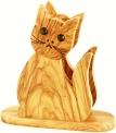 Olive Wood Cat Napkin/Letter Holder