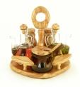 Olive Wood Deluxe Cruet Set