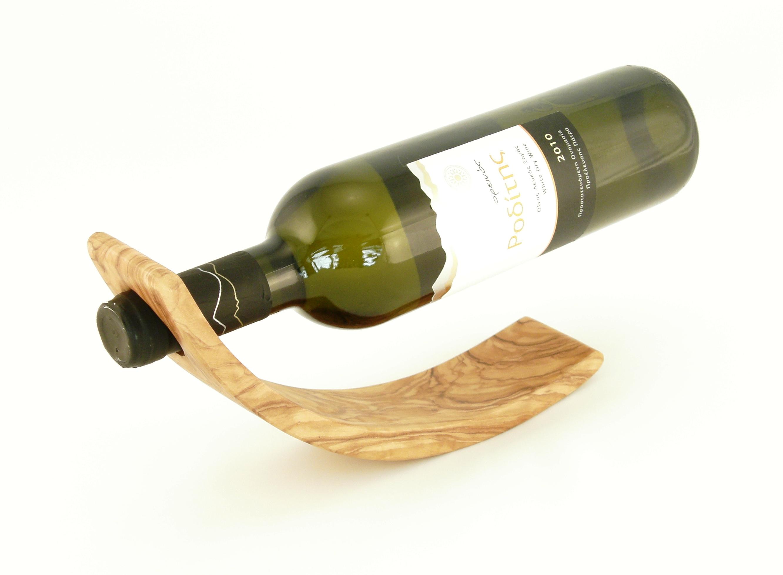 Olive Wood Curved Wine Bottle Holder