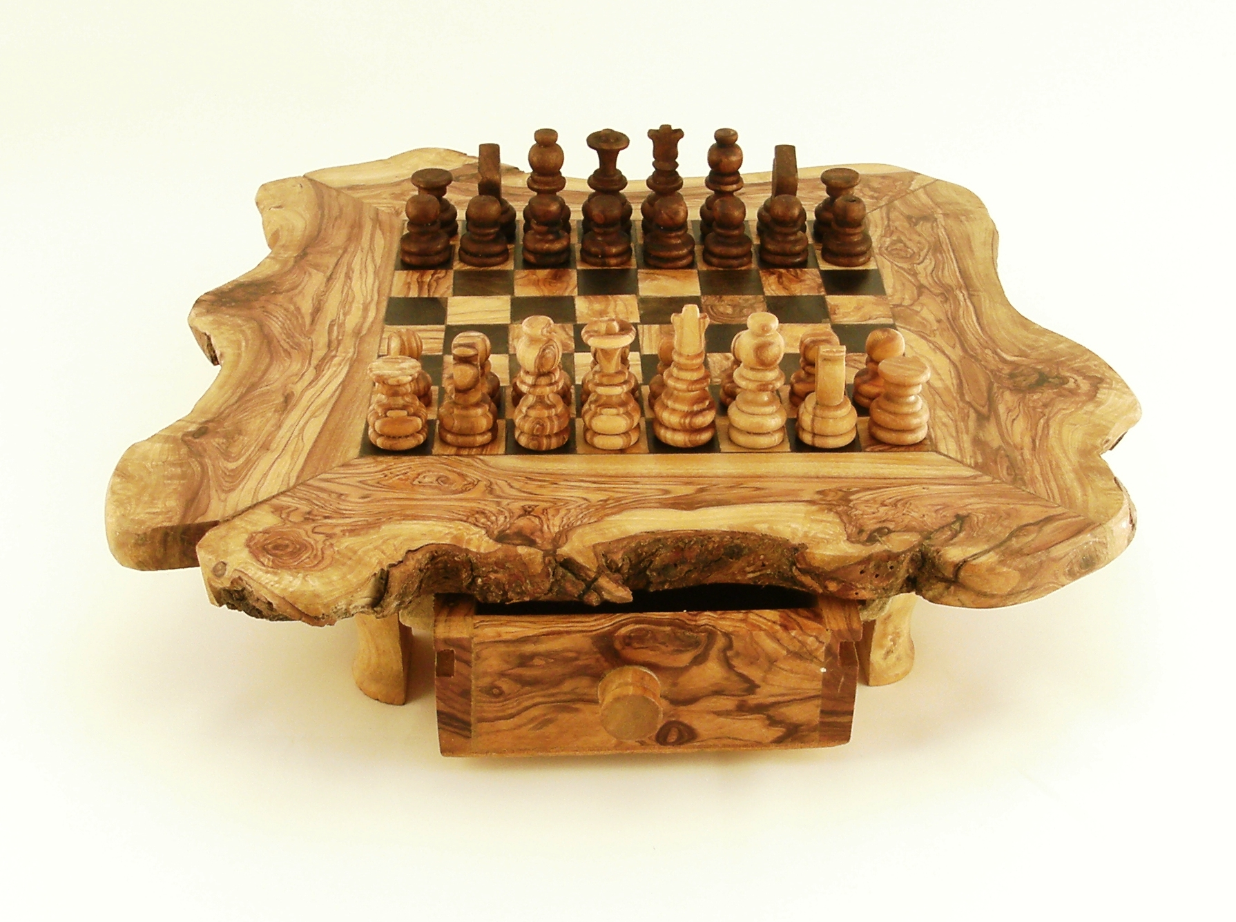 Olive Wood Natural Chessboard